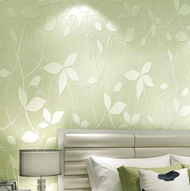 decoração com papel de parede folhas