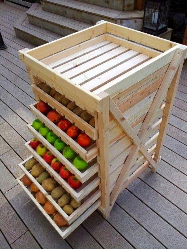 decoração com pallet para cozinha com frutas