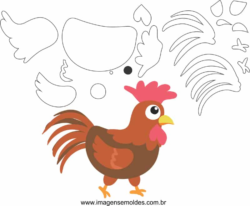 fazendinha em EVA molde galinho