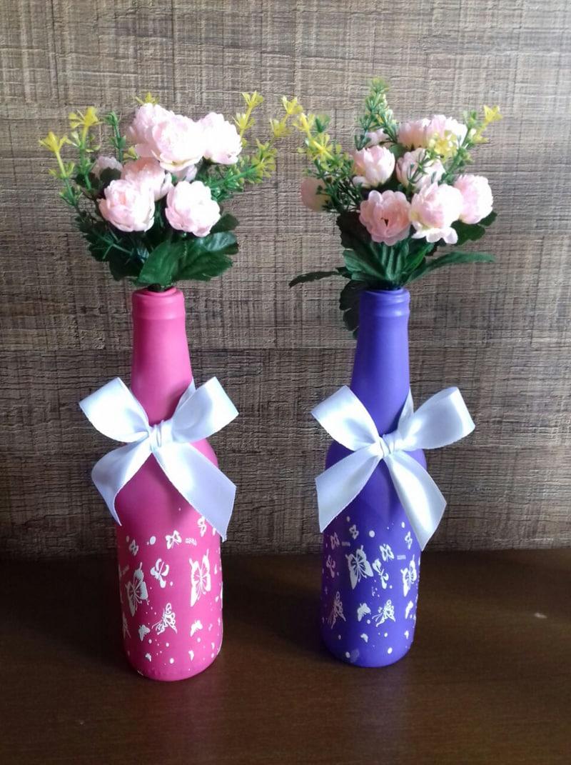 garrafa decorada com laço