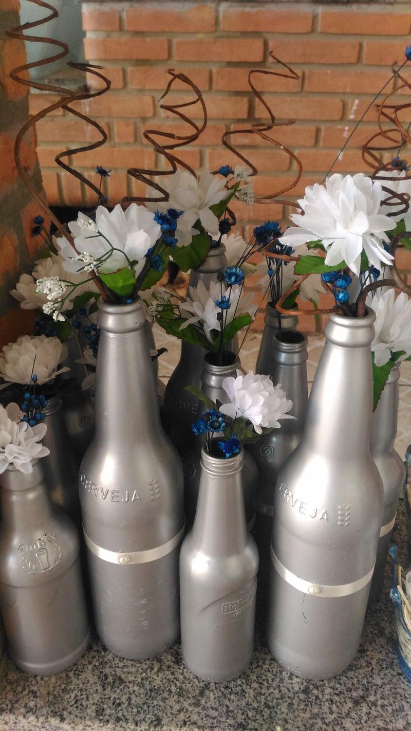 garrafa decorada prata