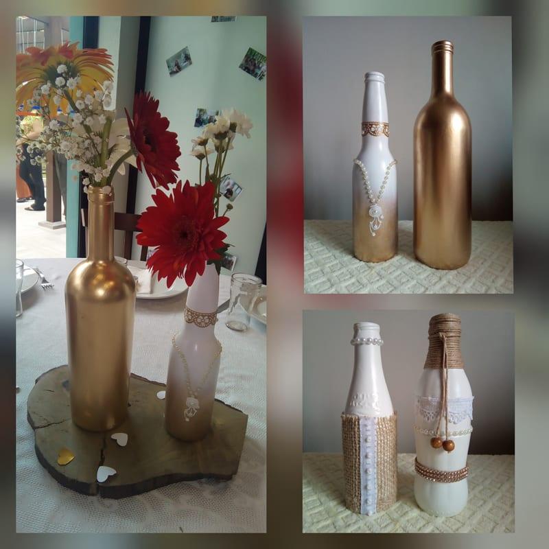 garrafa decorada metalizada