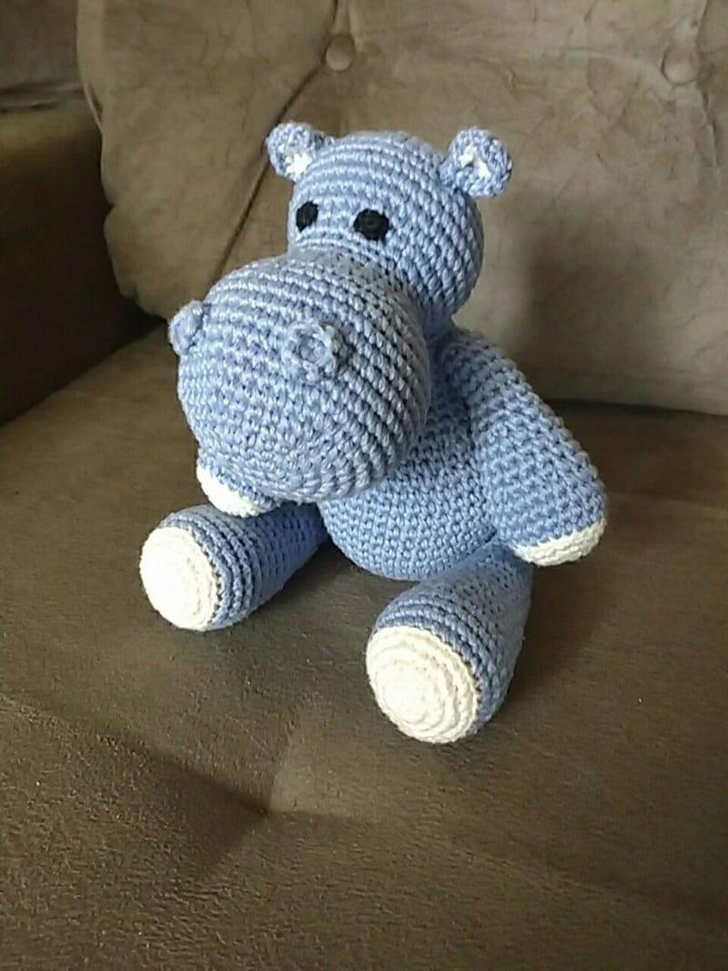 bichinho de crochê hipopotamo