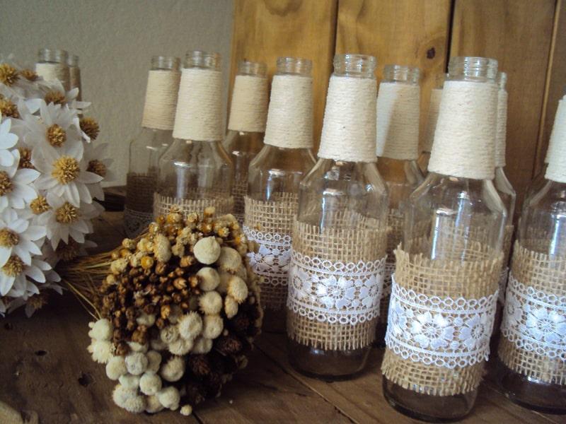 garrafa decorada com juta