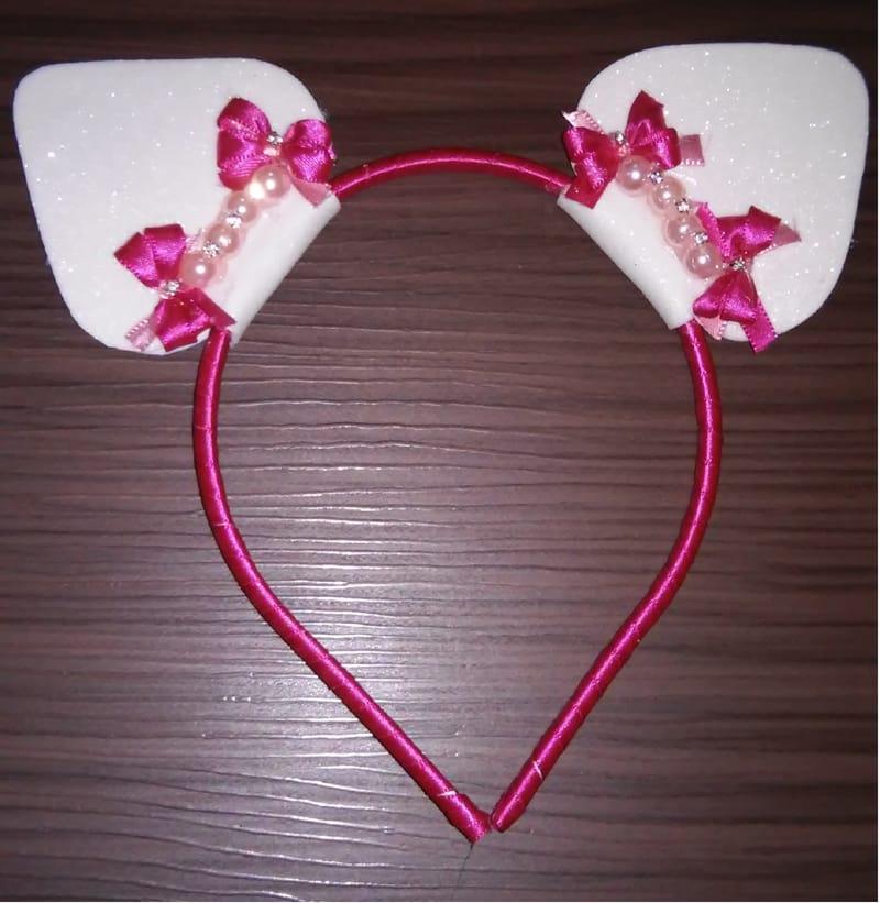 tiara gatinho pink