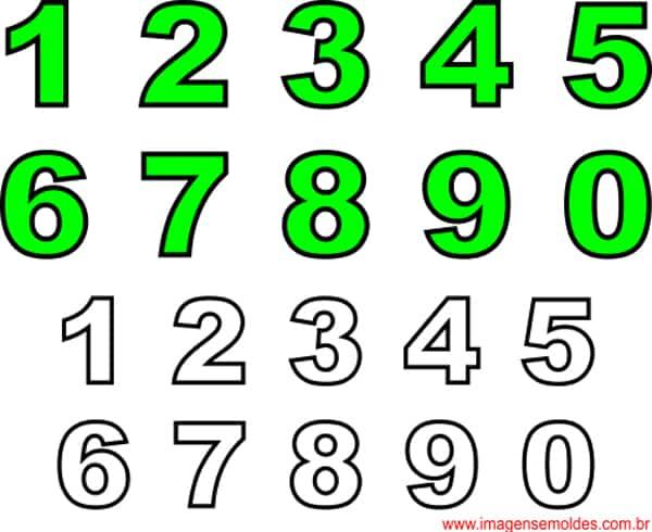 molde de numeros verdes