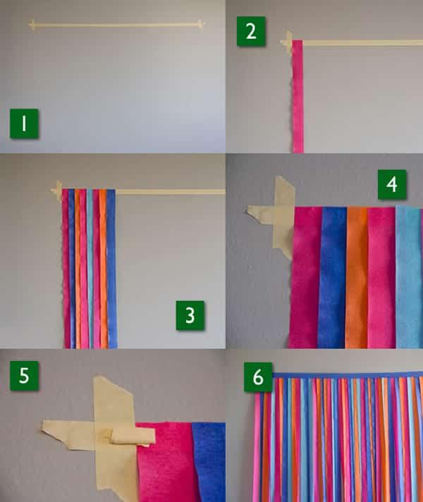 cortina de papel crepom passo a passo