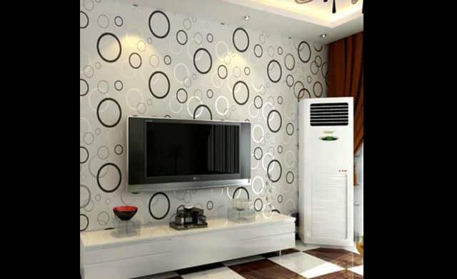 decoração com papel de parede bola