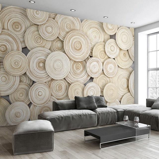 decoração com papel de parede tronco