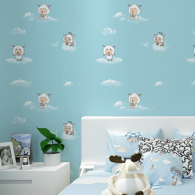 decoração com papel de parede ovelha