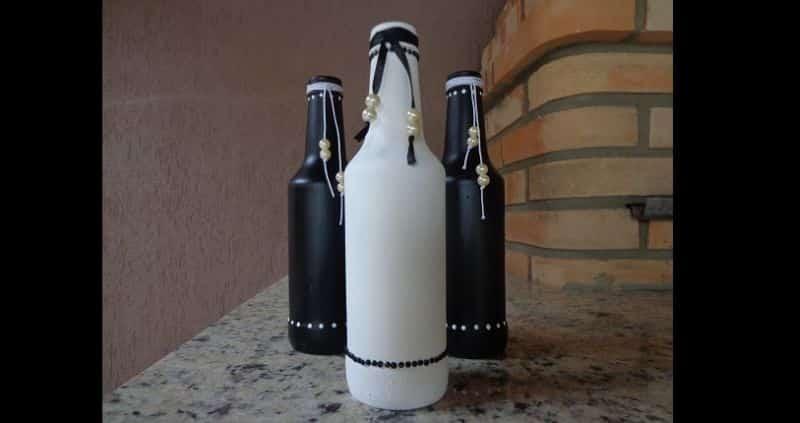 garrafa decorada com perola