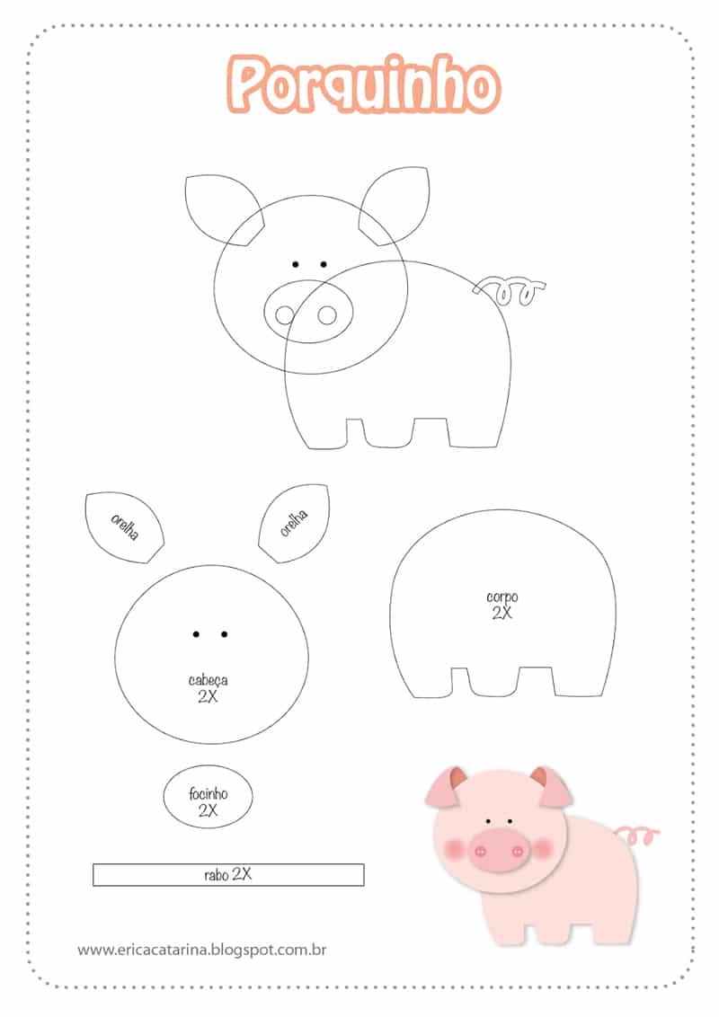 fazendinha em EVA molde porco