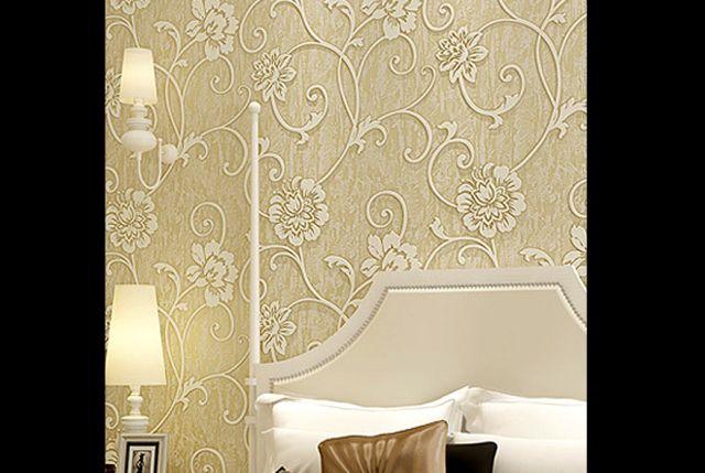 decoração com papel de parede flor