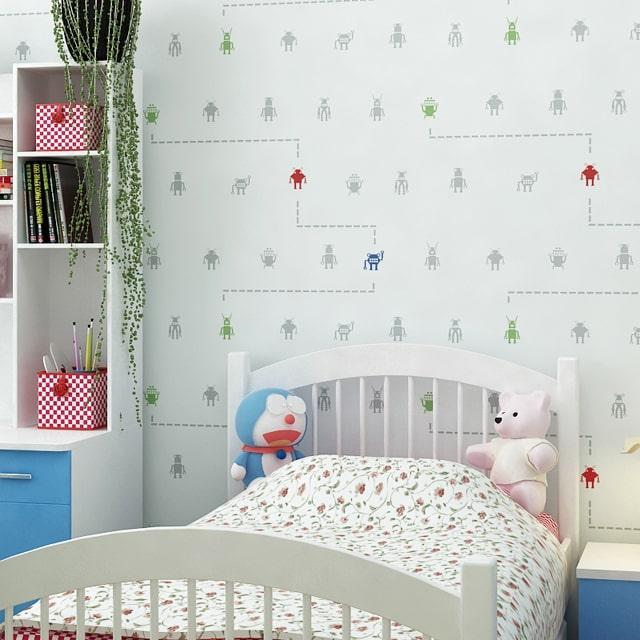 decoração com papel de parede infantil