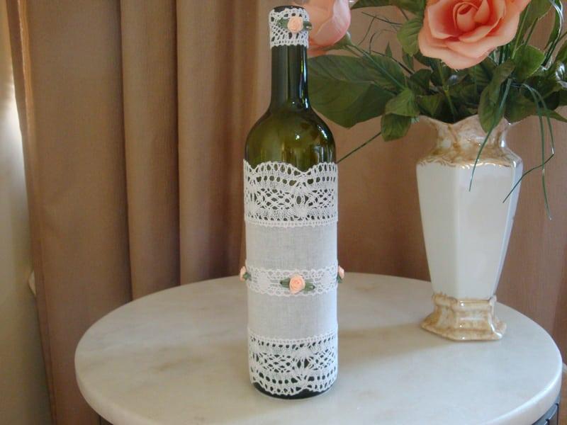 garrafa decorada rendada