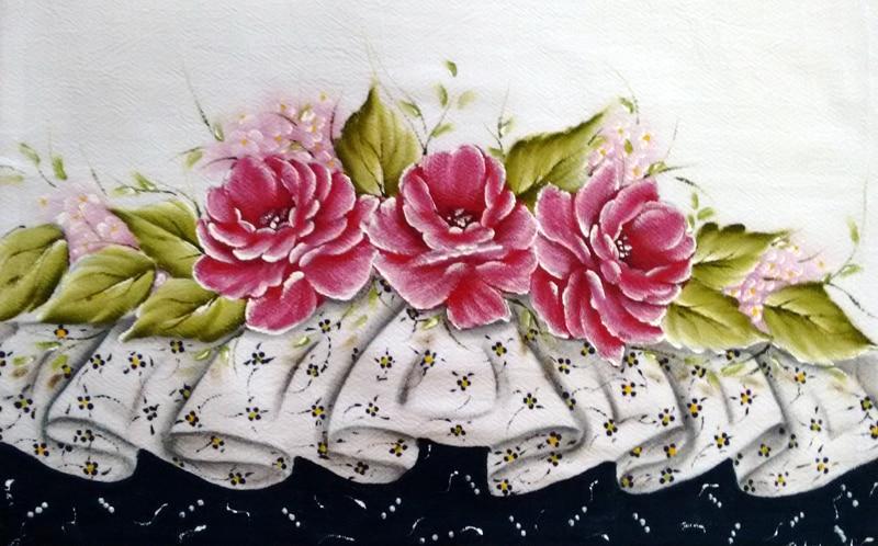 rosas pintadas com barrados