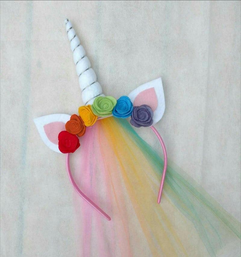 tiara unicornio arco iris
