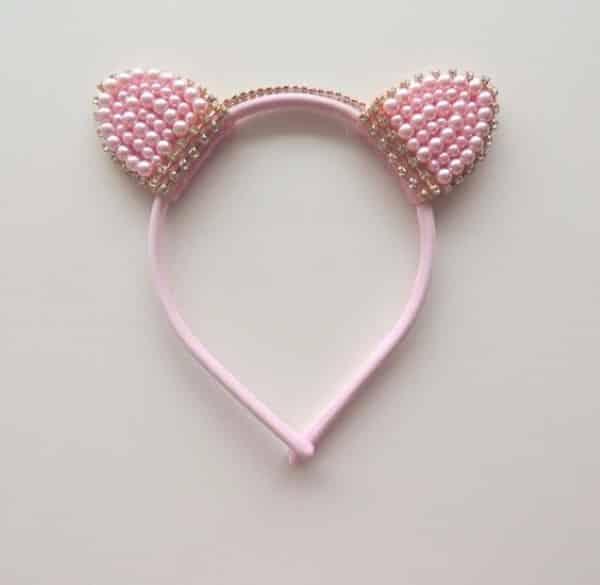 tiara de gatinho rosa com pérolas