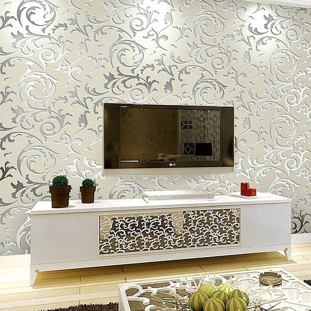 decoração com papel de parede metalizado