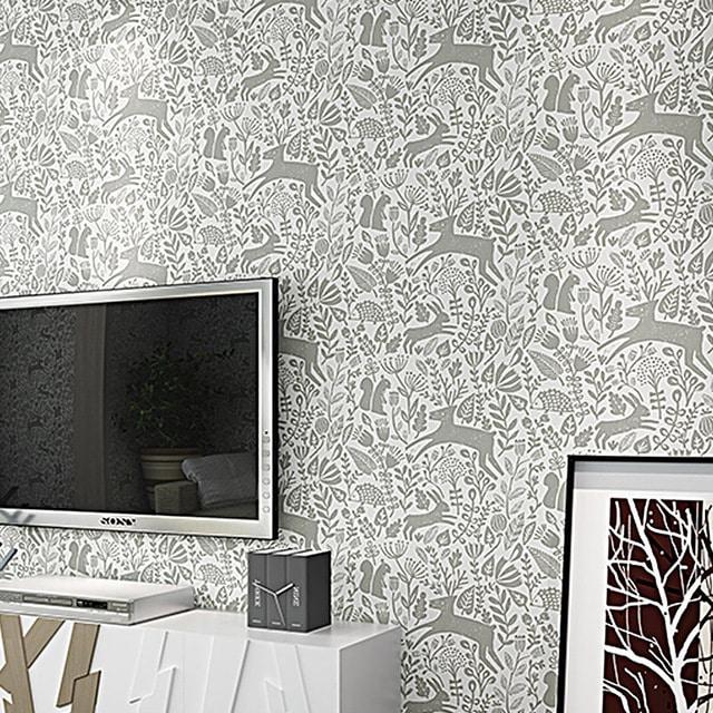 decoração com papel de parede tv