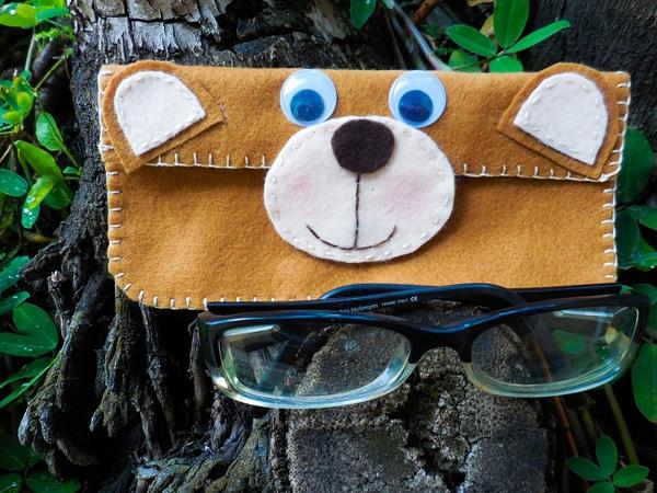 case para óculos urso