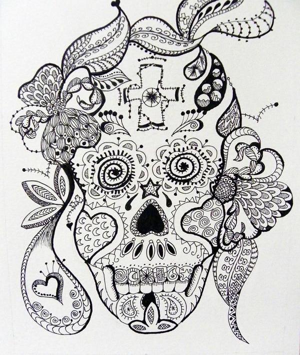 desenho de caveira borboleta
