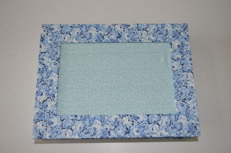porta retrato de tecido azul