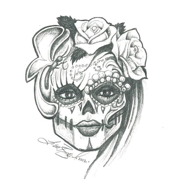 desenho de caveira feminina