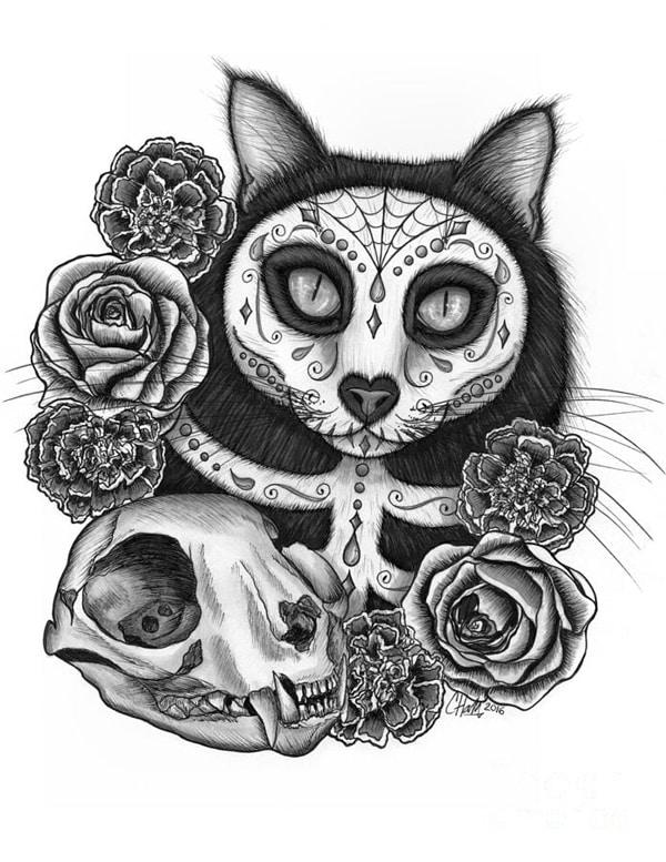 desenho de caveira gato