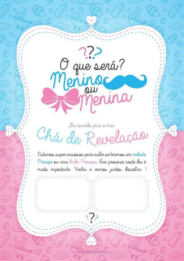 Convite Chá De Bebê Menino E Menina 70 Modelos Editáveis Para