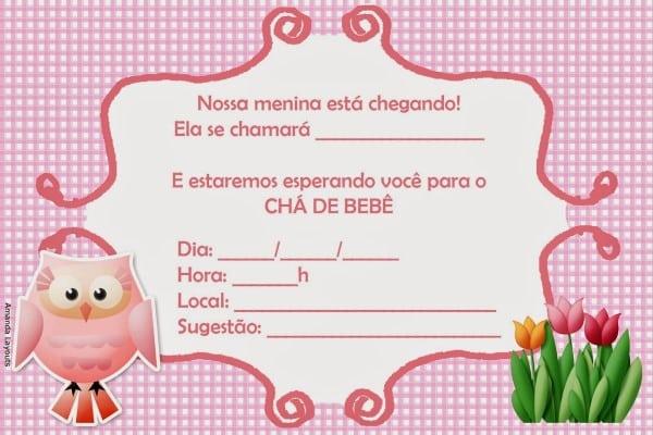 convite virtual cha de bebe