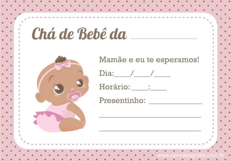 convites de cha de bebe feminino