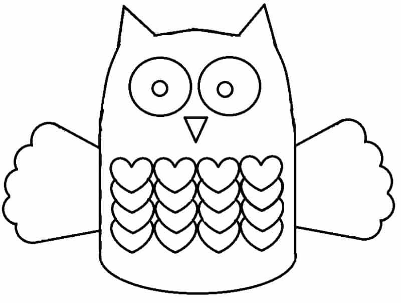desenho de coruja corações