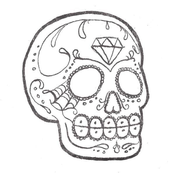 desenho de caveira diamante
