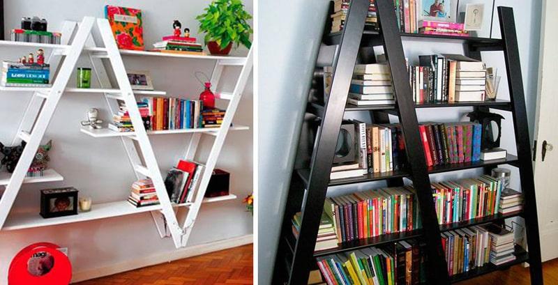 estante artesanal com escadas