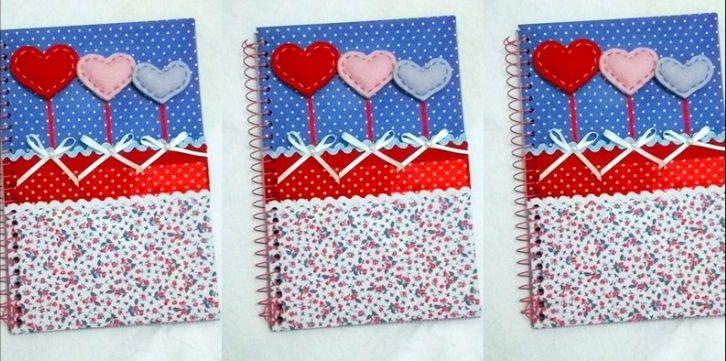 caderno decorado feltro