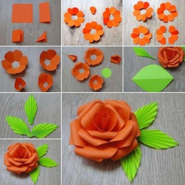 flor de papel laranja