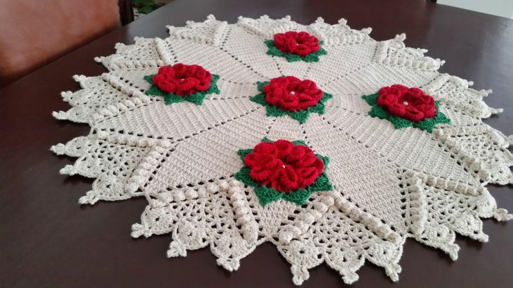 toalha croche vermelha