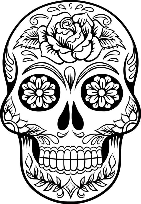 desenho de caveira com flor