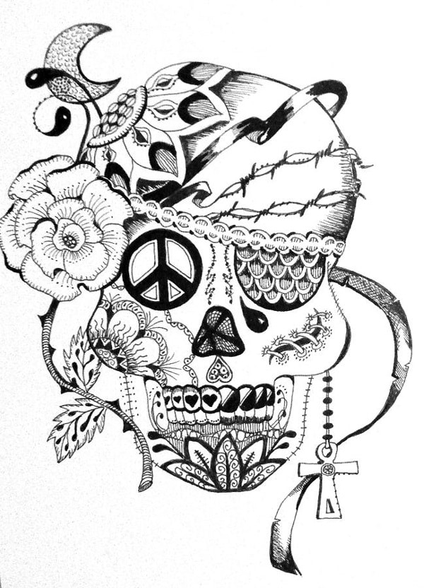 desenho de caveira hippie