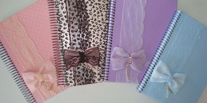 caderno decorado laço