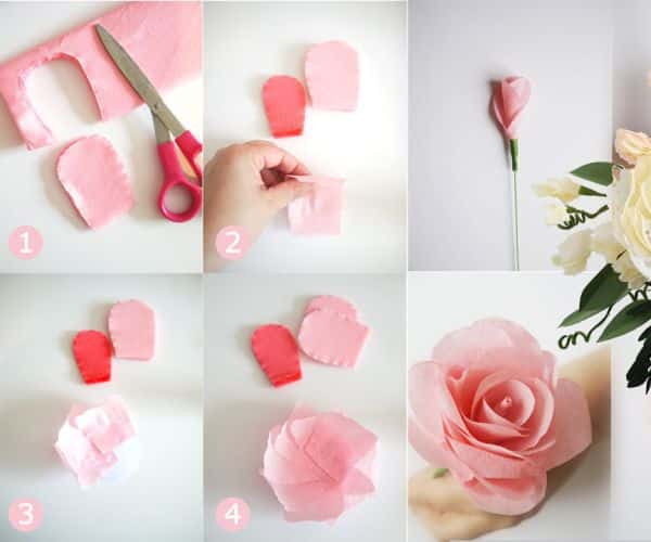 flor de papel rosa clara