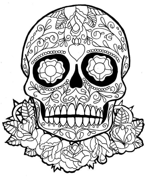 desenho de caveira com flores