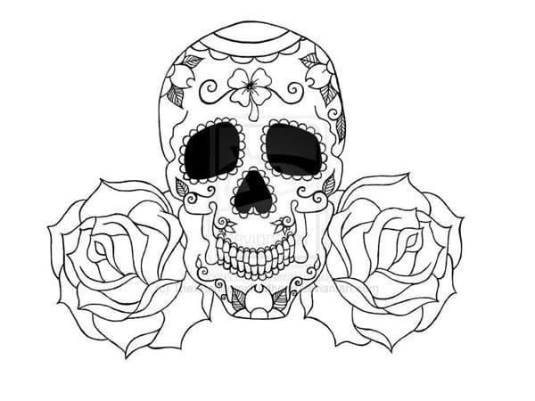desenho de caveira rosinhas