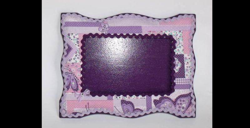 porta retrato de tecido violeta