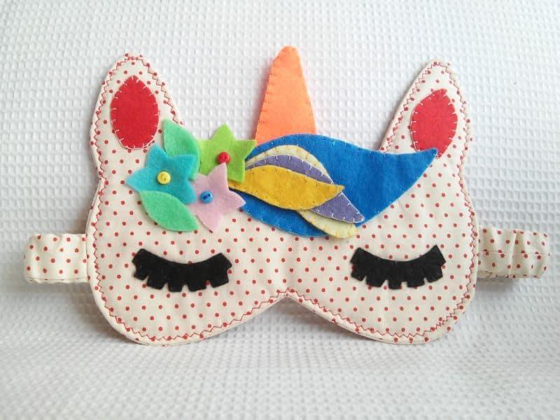 mascara de dormir unicórnio bolinha