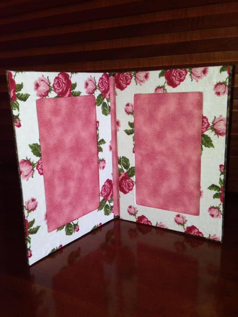 porta retrato de tecido rosa