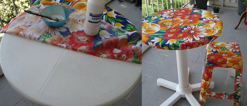 mesas e cadeiras decoradas decoupage