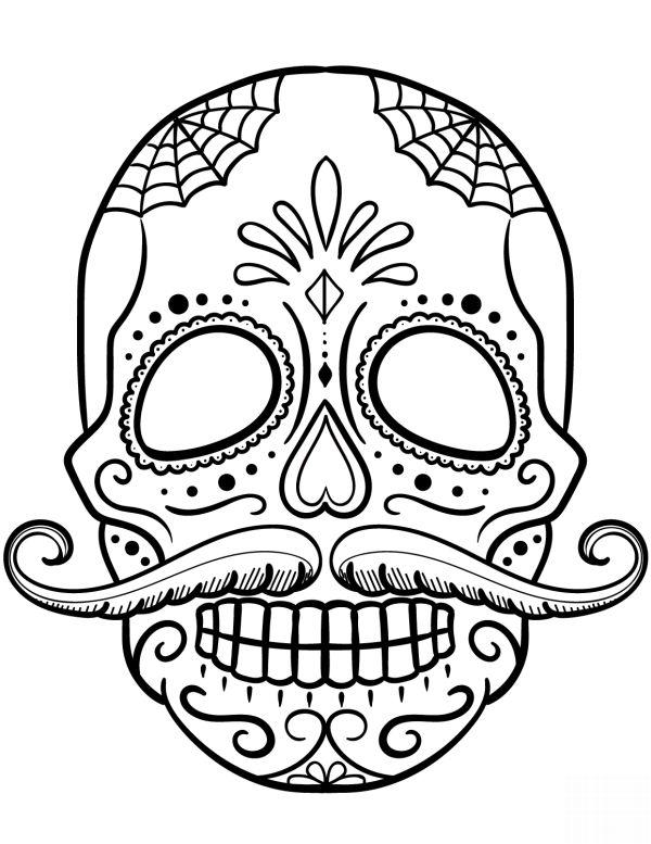desenho de caveira com bigode