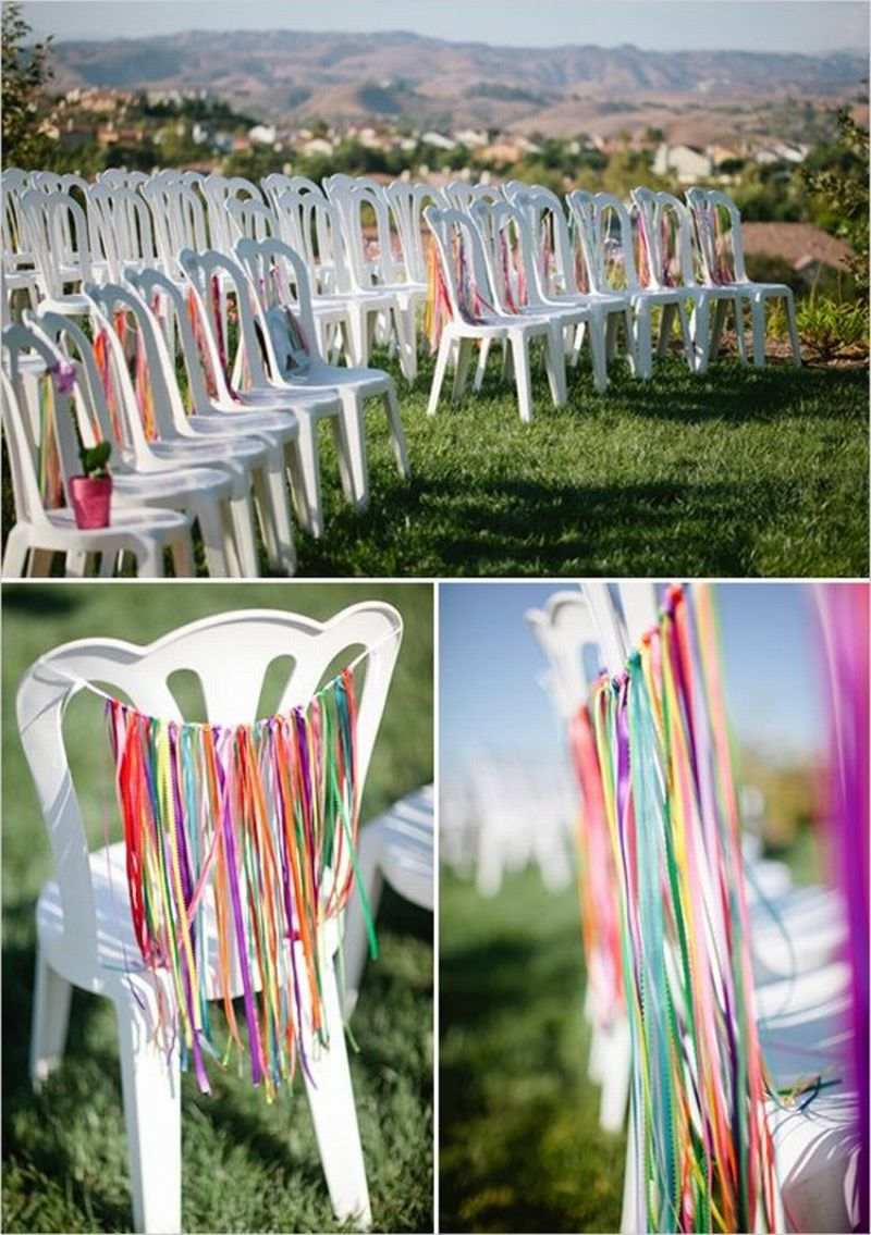 mesas e cadeiras decoradas fitinhas